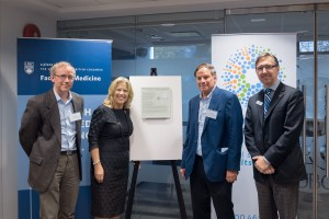 L-R: Orson Moritz, Sharon Colle, Robert Molday, and David Maberley celebrate leading gifts to UBC from the Foundation Fighting Blindness.